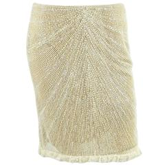Valentino Cream Fully Beaded Skirt with Lace Trim - M