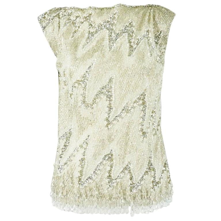 YSL Metallic Heavily Beaded Top - 36, 1990s  For Sale