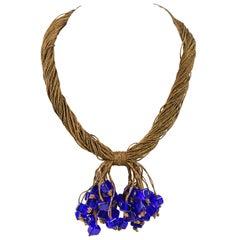 c.1920's Antique Gold Bullion Tassel Cobalt Blue Cube Glass Bead Knot Necklace