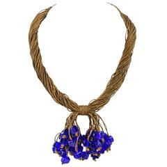 c.1920's Antique Gold Bullion Tassel Cobalt Blue Cube Glass Bead Knot Necklace