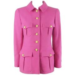 Chanel Magenta Wool Long Jacket with Gripoix Buttons - 38