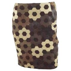Valentino Brown Leather and Suede Patchwork Skirt - 40 - 1980's