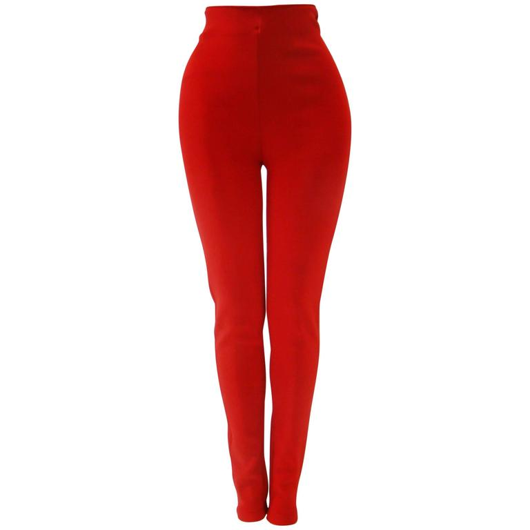 Gianni Versace Couture Red Stretch Leggings