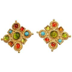 Colorful Edouard Rambaud french byzantine earrings 80s