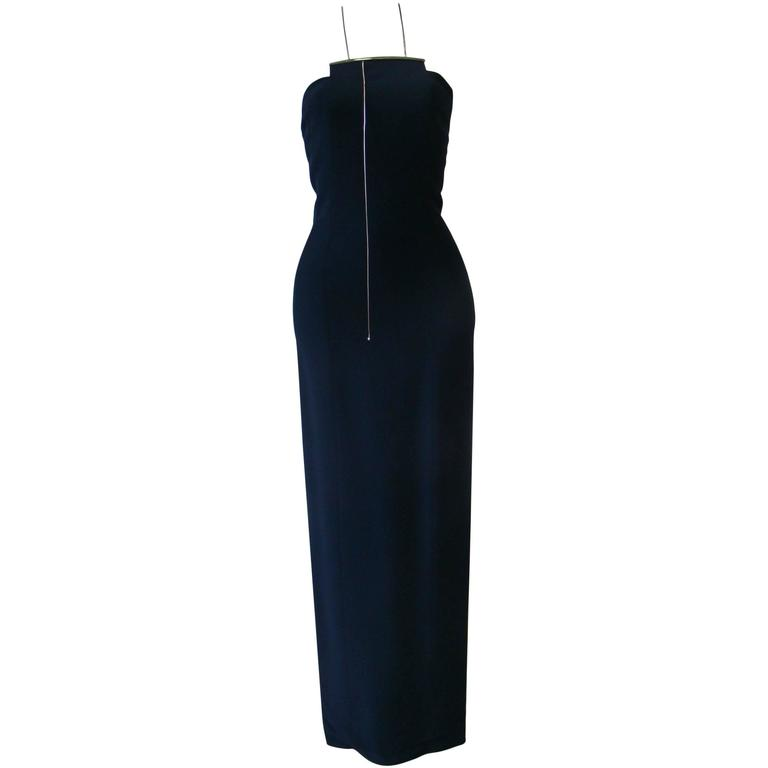 Unique Angelo Mozzillo Navy Blue Bodycon Maxi Dress