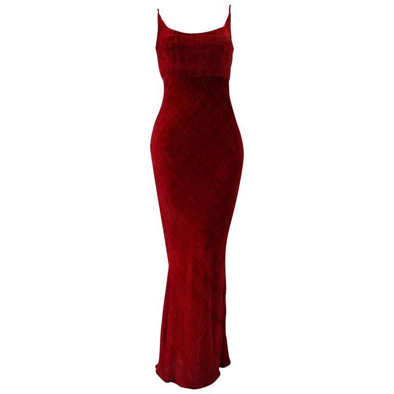 Unique Angelo Mozzillo Red Velvet Evening Gown Fall 1998
