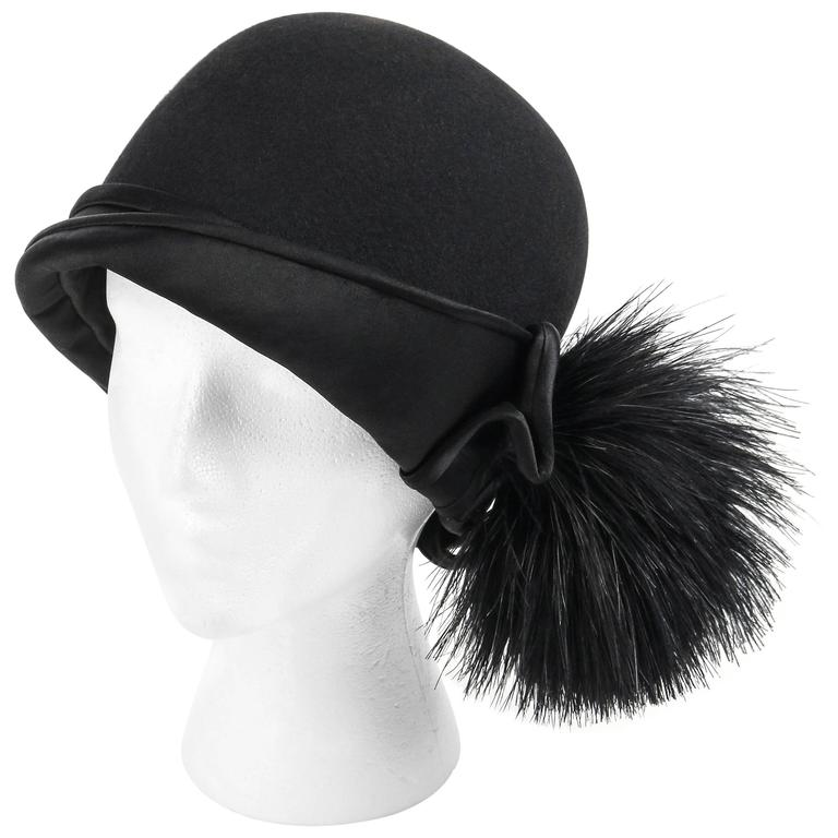 BELART Paris c.1920's Black Wool Felt Satin Feather Pom Pom Flapper Cloche Hat 1