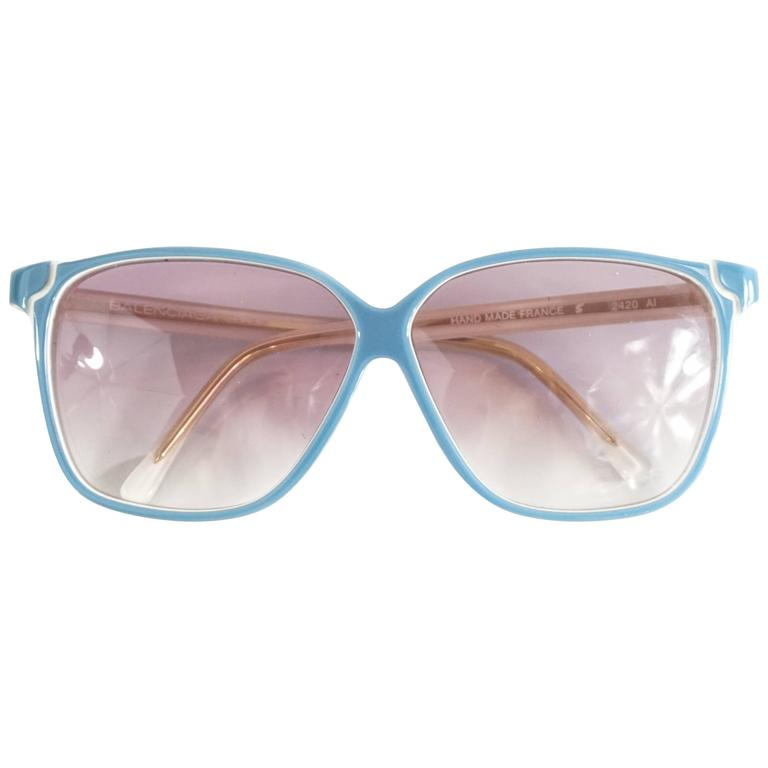 Balenciaga Blue and White Square Sunglasses - 1980's For Sale