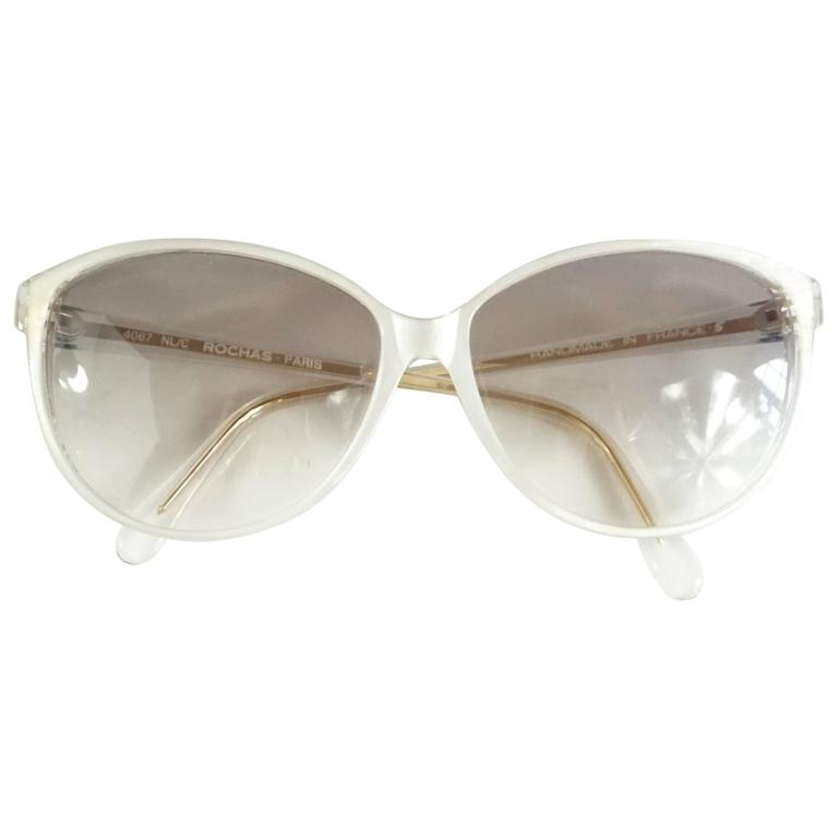 Rochas White Mother of Pearl Cateye Sunglasses - 1970's 1