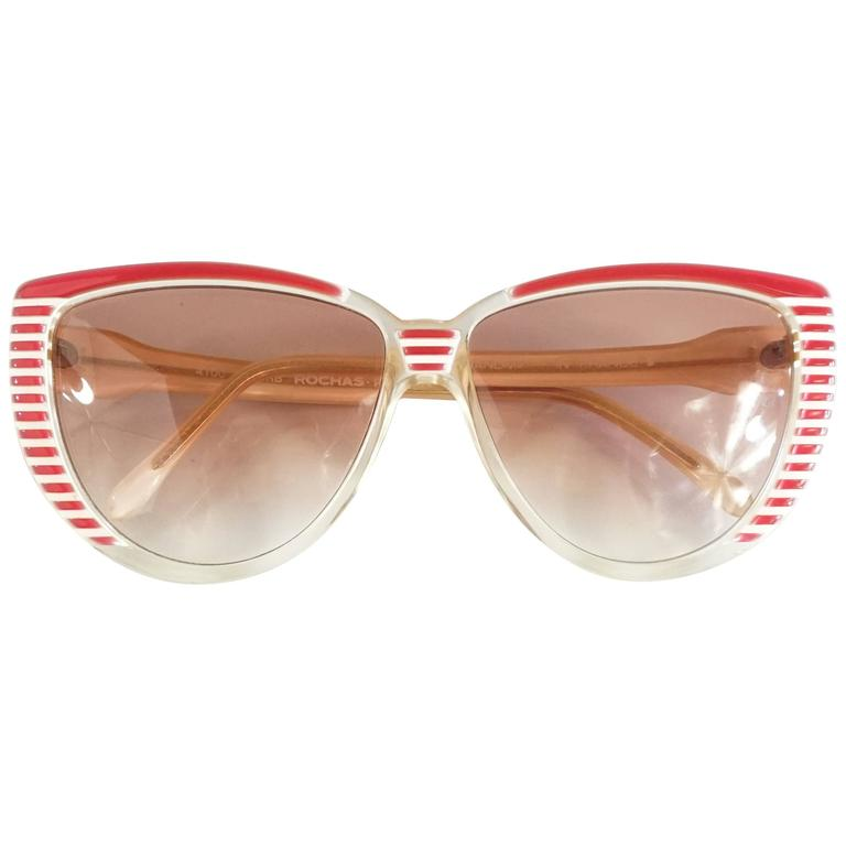 Rochas Red and White Lucite Cateye Sunglasses - 1970's  1
