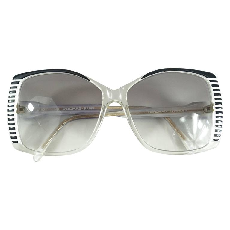 Rochas Black and White Lucite Square Sunglasses - 1970's  1