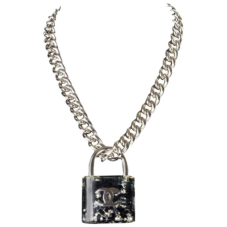 Chanel Large Padlock Necklace 2014 Pearl Silver Chain