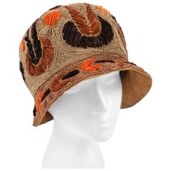RICH ART MODELS c.1920's Gold Bronze Chenille Silk Corded Flapper Cloche Hat
