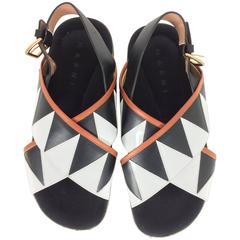 Marni geometric leather criss cross sandals 39M