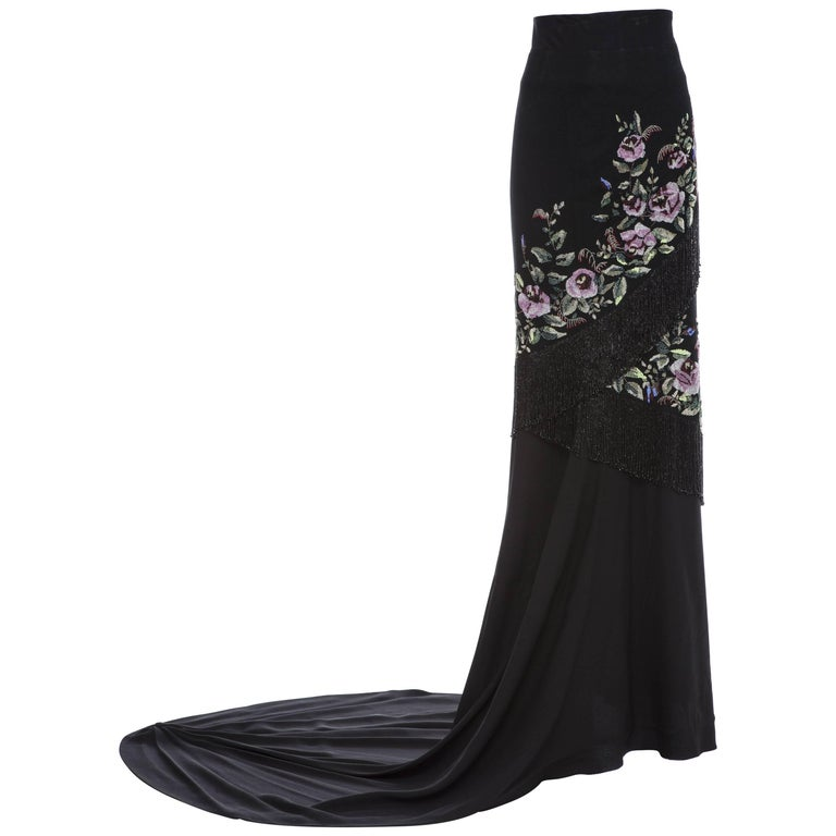 Givenchy Haute Couture Alexander McQueen Runway Black Beaded Skirt, Fall 1998 For Sale