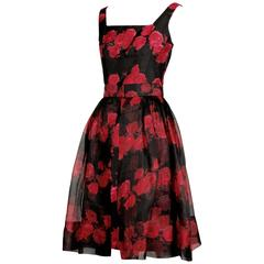 1960s Silk Floral Print Cocktail Dress with Detachable Skirt