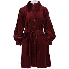 Rare Emanuel Ungaro 1970s Parallele Vintage Burgundy Velvet Coat