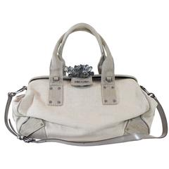 Prada Natural Canvas Crystal Cluster Doctors Bag