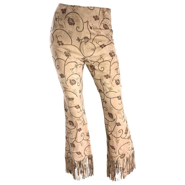 Amazing Vintage Escade Suede Leather Hand Painted Fringe 90s Flare Leg Pants 38 For Sale