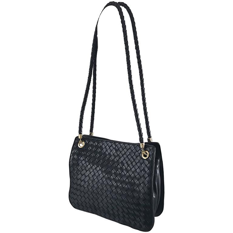 6fbda05475e Bottega Veneta Vintage Classic Black Woven Napa Leather Shoulder Bag Purse  Tote For Sale