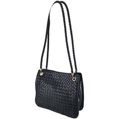 Bottega Veneta Vintage Classic Black Woven Napa Leather Shoulder Bag Purse Tote