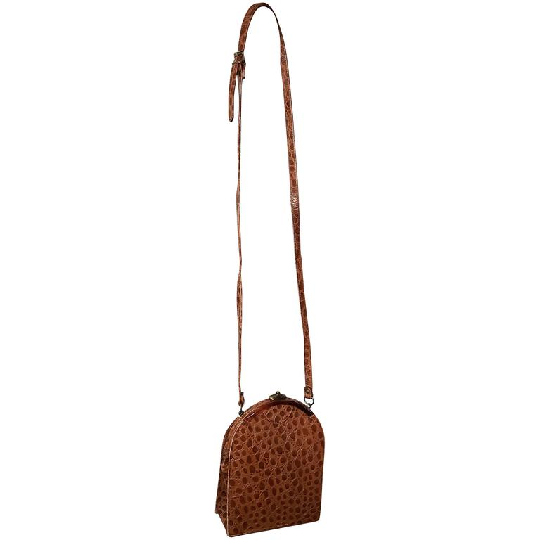 Vintage Jill Stuart Crocodile Embossed Leather Tan Brown Crossbody Shoulder bag