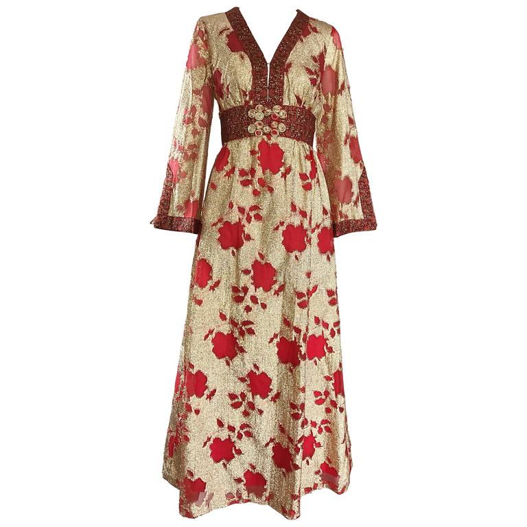 Bill Blass Vintage Red and Gold Silk Lurex Asian Inspired Gown, 1970s