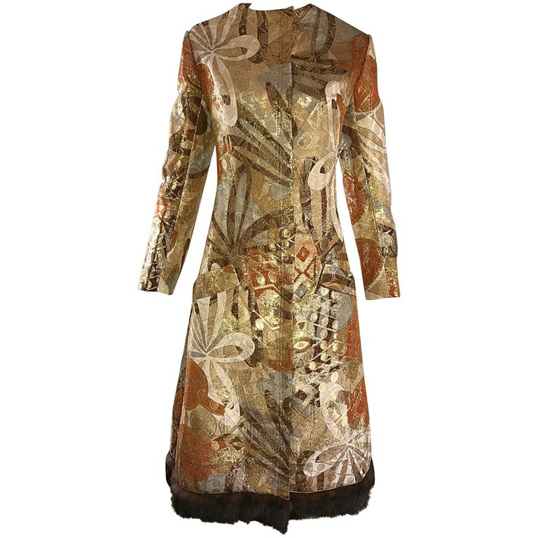 Bill Blass 1960s Vintage Silk Metallic 60s Mink Trimmed Dress Jacket Swing Coat  For Sale