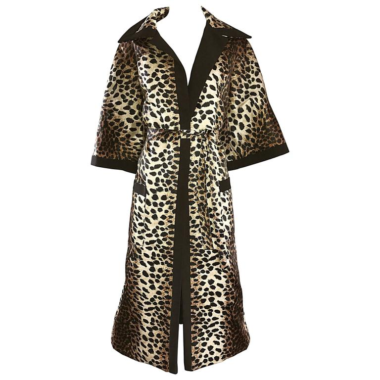 1960s Lilli Ann Leopard Cheetah Print Vintage Fabulous 60s Trench Jacket Coat  For Sale