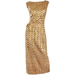 Amazing 1960s Vintage Gold Silk Fully Sequined Sleeveless 60s Evening Gown Dress