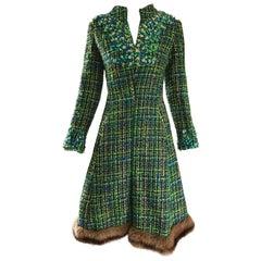 1960s Julius Garfinckel Blue and Green Boucle Beaded Mink Fur Trim A Line Dress