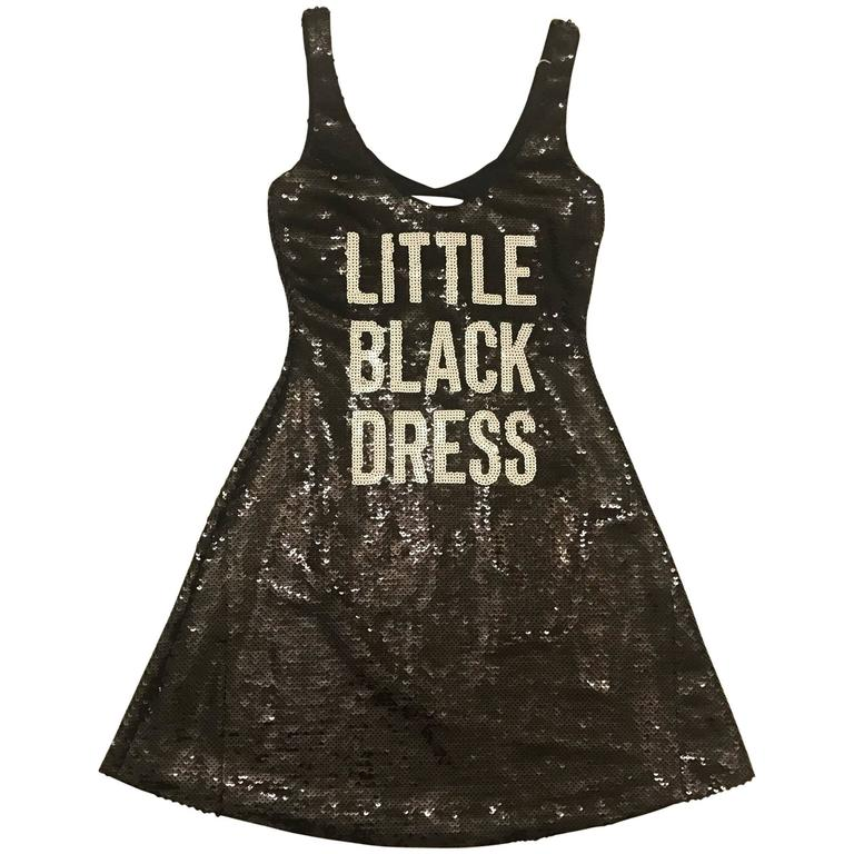 Moschino Couture New with Tags Sequin Little Black Dress Print Jeremy Scott 1