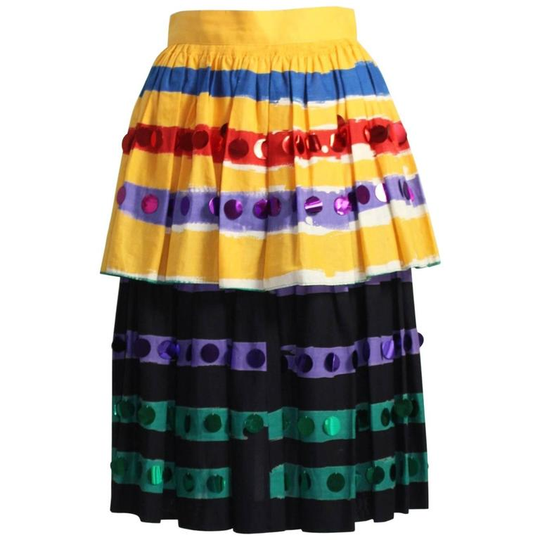 1980s Michaele Vollbrach Colorful Cotton Layered Gypsy Pheasant Skirt