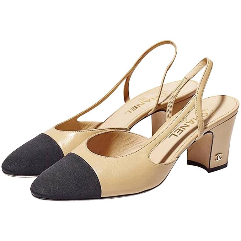 92e19bd939e Chanel NEW & SOLD OUT Black Beige Tan Leather Cap Toe Slingback Heels in Box
