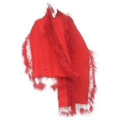 Neiman Marcus Dramatic Scarlet Feather Trim Silk Wrap