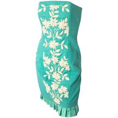 80s Teal Linen Strapless Dress with Floral Embroidery