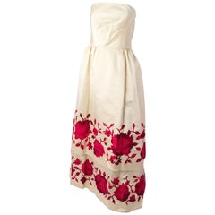 50s Silk Satin Tiered Strapless Gown