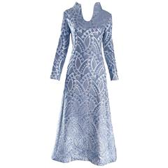 Rizkallah for Malcolm Starr 1960s Light Baby Blue + Silver Silk Brocade Gown