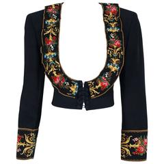 1990's Moschino Couture Colorful Floral Embroidered Black Silk Cropped Jacket