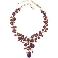 Vintage Unsigned Oscar De La Renta Purple Cabochon & Red Rhinestone Statement Ne