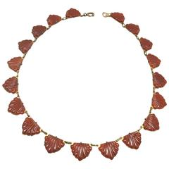 Vintage 1930s Czech Carnelian Seashell Necklace