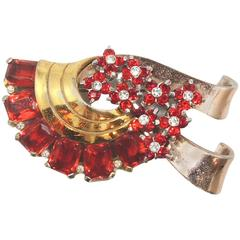 Pennino Vintage Faux Ruby and Clear Crystal Brooch