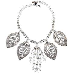 Designer Anka One Of A Kind Rhinestone Crystal Leaf Necklace