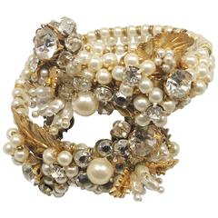 Early Miriam Haskell Faux Pearl Floral Coiled Bracelet