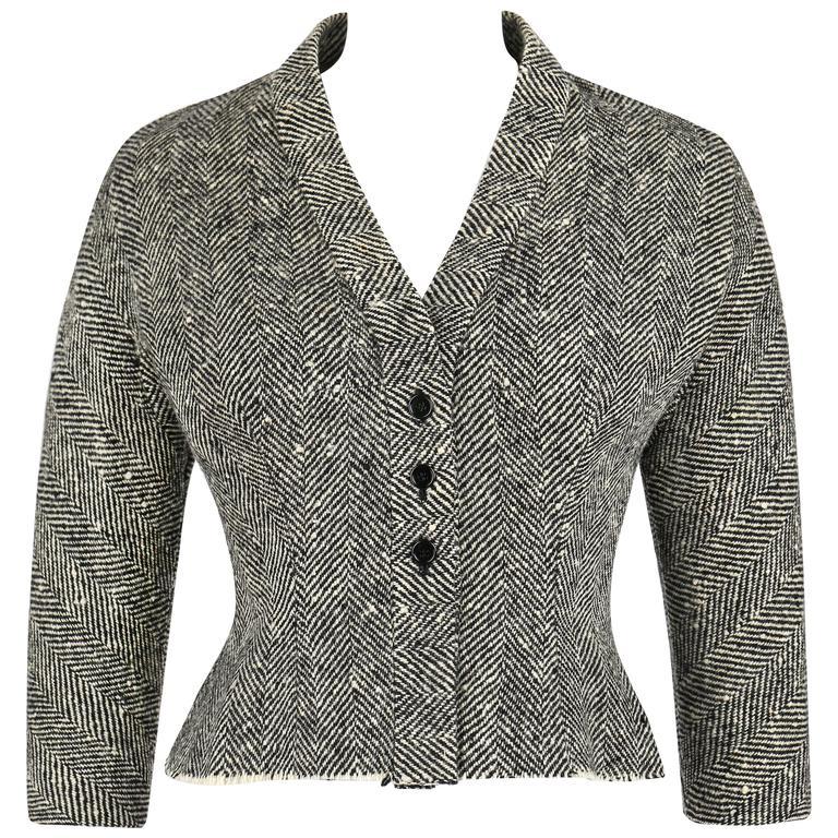 "HUBERT DE GIVENCHY c.1952 Haute Couture Number ""H97"" Herringbone Wool Jacket For Sale"