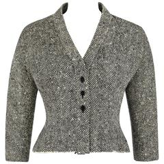 "HUBERT DE GIVENCHY c.1952 Haute Couture Number ""H97"" Herringbone Wool Jacket"