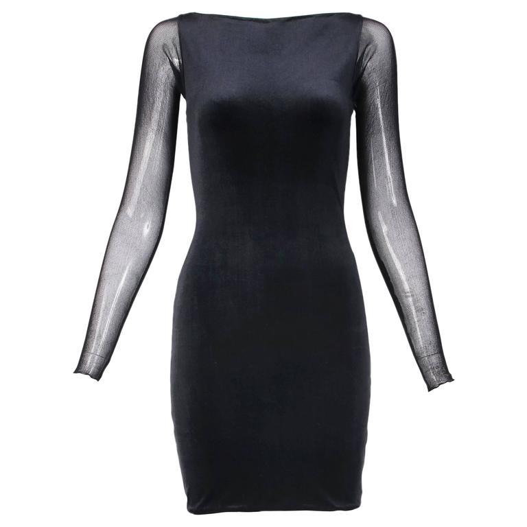 Giorgio Di Sant Angelo Black Stretch Velvet Bodycon Dress W/Illusion Back