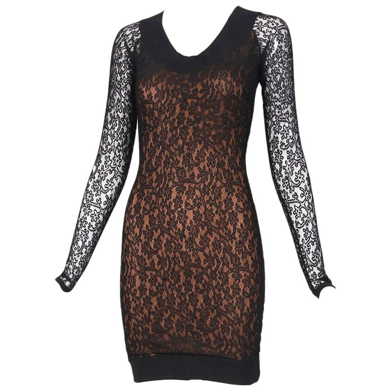Vintage Alaia Black Lace Bodycon Mini Dress with Sheer Lace Sleeves For Sale