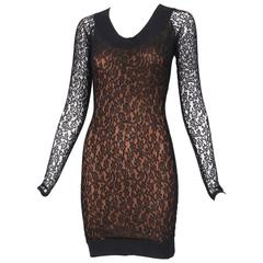 Vintage Alaia Black Lace Bodycon Mini Dress with Sheer Lace Sleeves