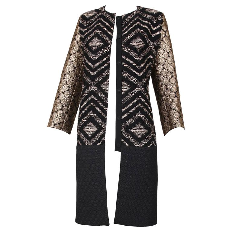 Giambattista Valli Black & Gold Brocade Patchwork Coat  For Sale